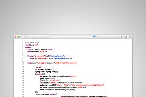 Browser window with html code