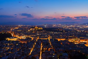 cityscape of Athens at night, Greece