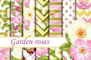 Garden roses digital paper