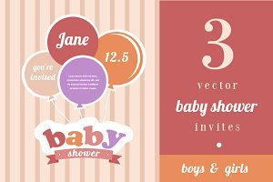 3 Baby shower vector invites