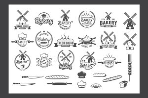 Collection of vintage bakery logos