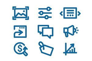 Set of icons on Internet marketing and interface elements