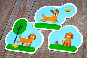 Funny dogs. Flat illustrations set