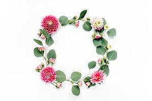 Round frame flower
