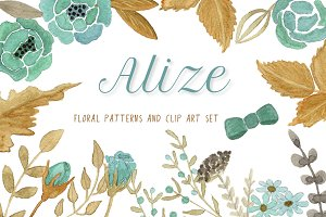 ALIZE watercolor floral clipart set