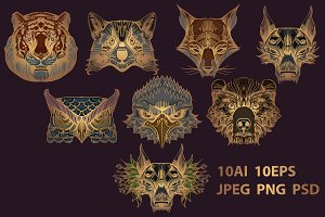 Wild animals golden set