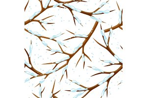 Winter seamless pattern with branches of tree and snow. Seasonal illustration