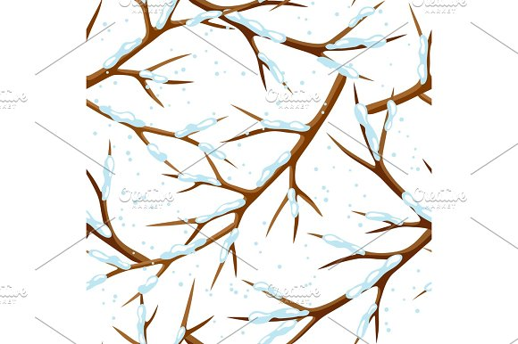 Winter Seamless Pattern With Branches Of Tree And Snow Seasonal Illustration