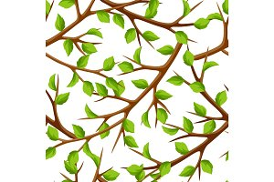 Summer seamless pattern with branches of tree and green leaves. Seasonal illustration