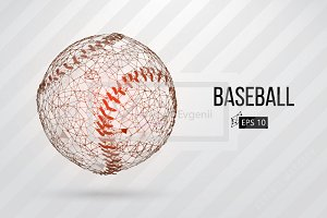 Silhouette of baseball balls. Set