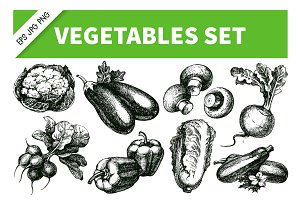 Hand Drawn Sketch Vegetables Set 2