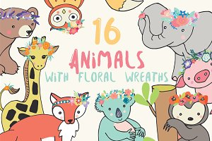 Animals with floral wreaths