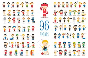 96 sport characters in cartoon style