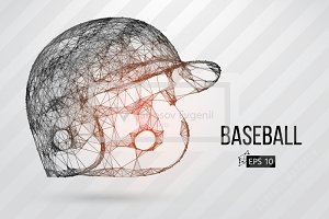 Silhouette of baseball helmet. Set