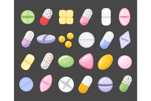 Medicine cartoon pill, drug, table, antibiotics, medication dose cartoon flat style icons.