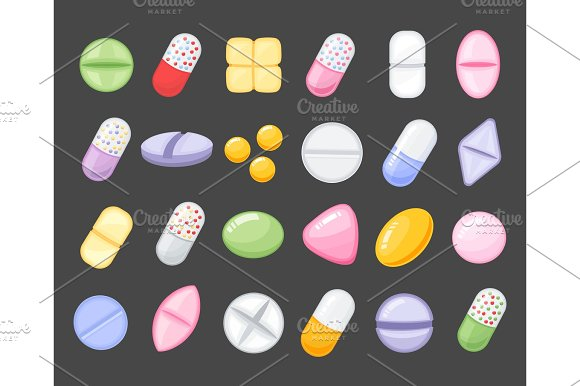 Medicine Cartoon Pill Drug Table Antibiotics Medication Dose Cartoon Flat Style Icons