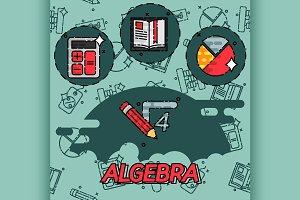 Algebra flat concept icons