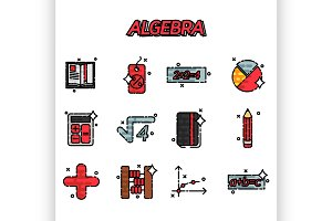 Algebra flat icons set