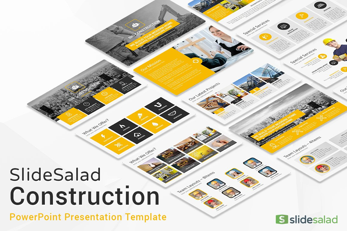 Construction powerpoint template presentation templates creative construction powerpoint template presentation templates creative market toneelgroepblik Images