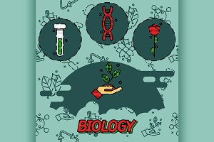 Biology flat concept icons