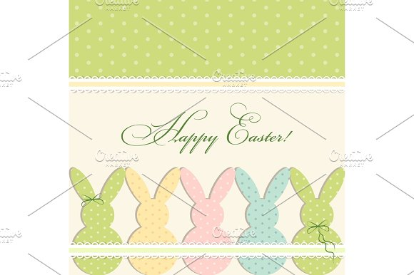 Cute Vintage Easter Card In Shabby Chic Style With Bunny