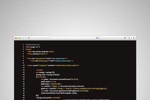 Modern browser window with code