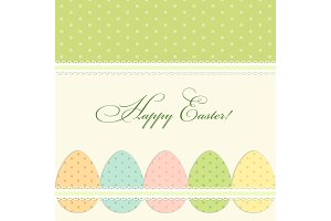 Lovely vintage Easter card with polks dots eggs in shabby chic style