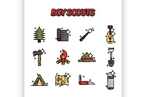 Boy scouts flat concept icons