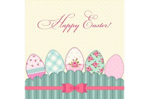 Lovely vintage Easter card with eggs in shabby chic style
