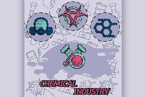 Chemical industry flat concept icon