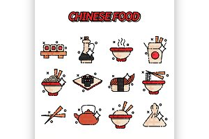 Chinese food flat concept icons