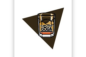 Color vintage bar emblem
