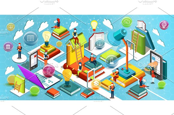 Online education isometric flat in Illustrations