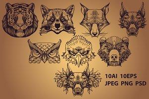 Wild animals contour