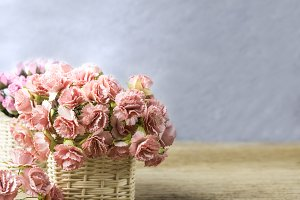 Pink carnation and rose flowers