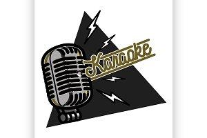 Color vintage karaoke emblem