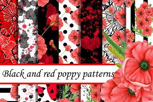 Red and black poppy paper
