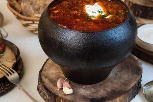 Russian borsch at pot