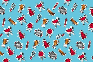 Barbecue and grill icon pattern