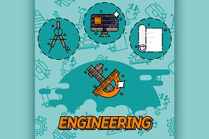 Engineering flat icons set