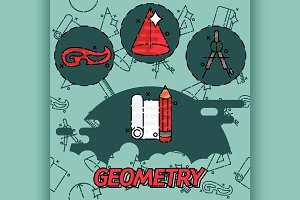Geometry flat concept icons
