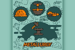 Metallurgy flat concept icon
