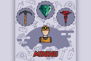 Mining flat concept icon