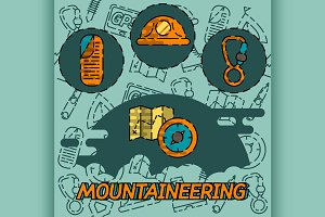 Mountaineering flat concept icons