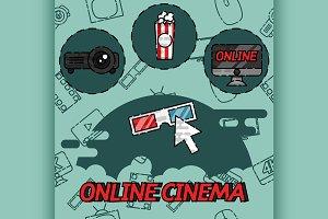 Online cinema flat concept icons