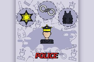 Police flat concept icon