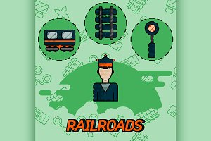 Railroads flat concept icons