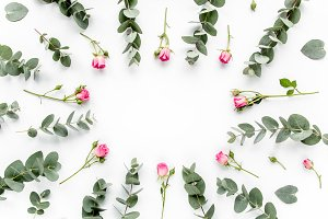 Floral frame made of roses