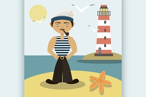 Sailor with a pipe and a lighthouse