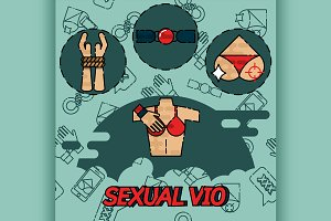 Sexual vio flat icons set.